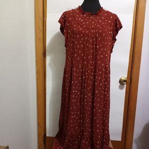 Rust Colored Ruffled Floral Cap Sleeve Maxi Dress